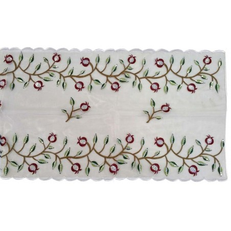 Tallit Bag - Machine Embroidery - Full Pomegranates - White