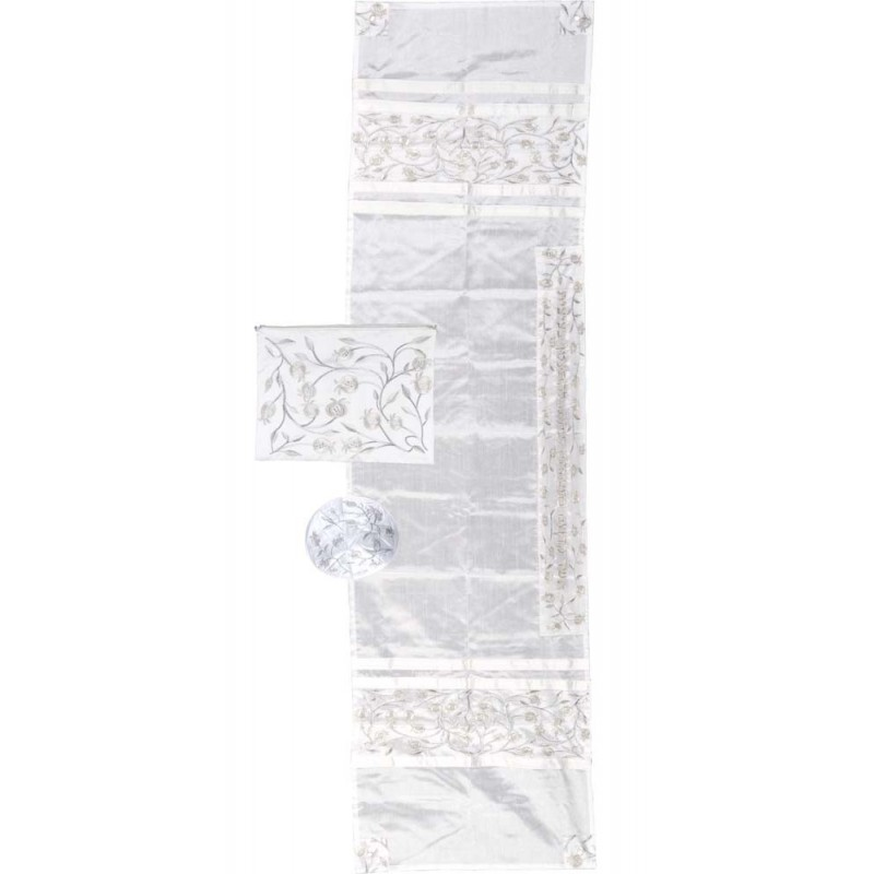 "Tfilin Bag -  Embroidery - Linen - ""V'ata Shalom"" Dark"