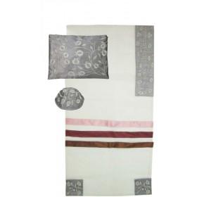 Tallit Set Organza Stripes Grey