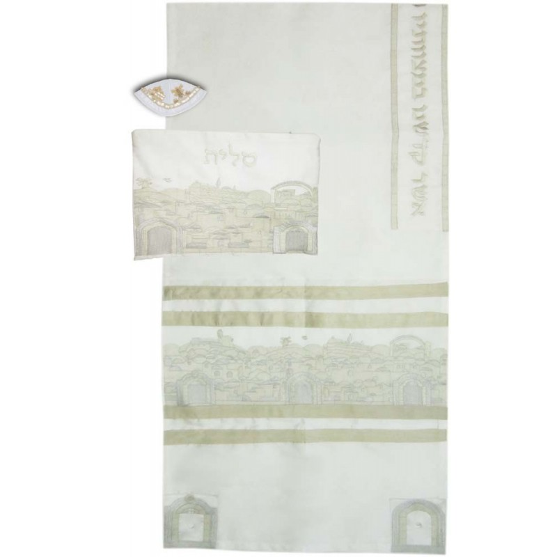 Tallit Bag - Machine Embroidery - Paper Cut Jerusalem - Blue