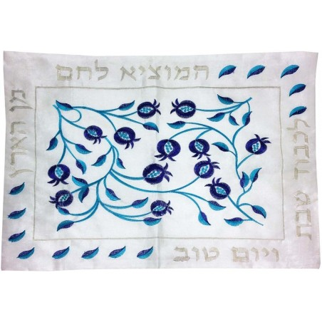 Afikoman Cover - Hand Embroidered - Jerusalem Round Silver
