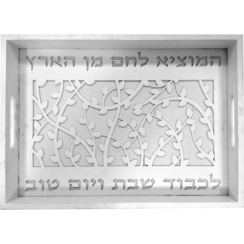 Challah Tray Wood Laser and Glass Large