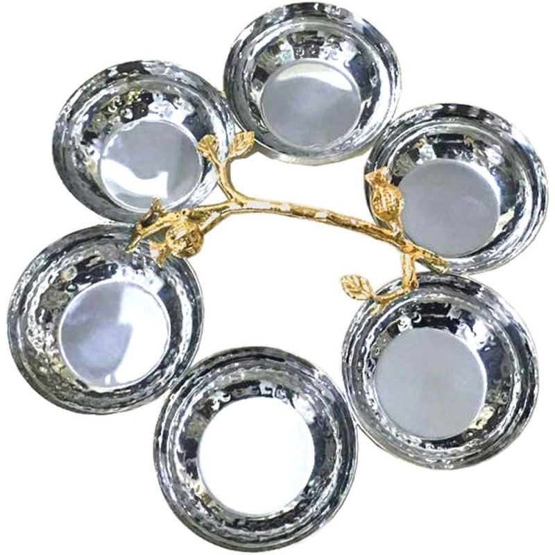 Dishes w/6 Hammered w/Brass Pomegranate