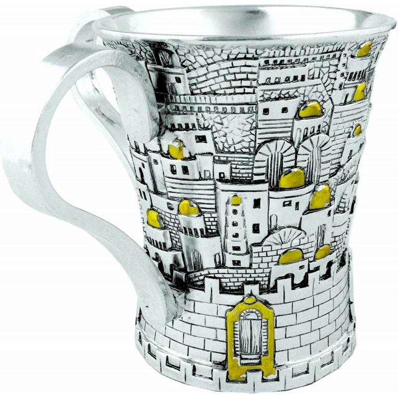 Wash Cup Jerusalem design 925 Silver