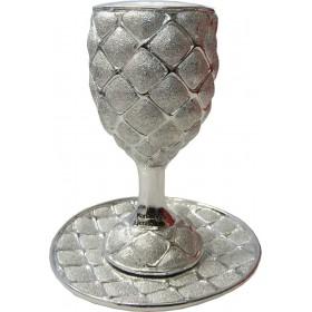 Goblet w/coaster Squares Silver 925 Electroforming
