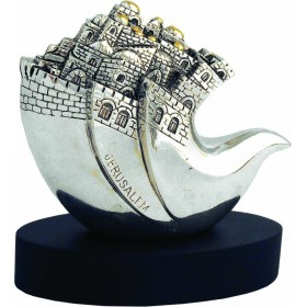 Dove With Jerusalem Large Silver 925 Electroforming