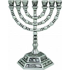 Menorah 12 cm Tribes design Silver