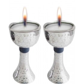 Candle Holders Hammered with Enamel