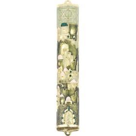Mezuzah w/Crystals 12 cm Ivory-Green