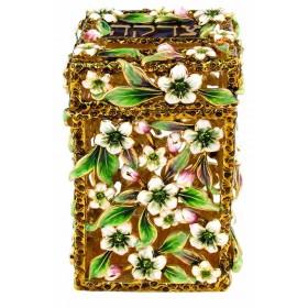Tzedakah Box Flowers Design Brown