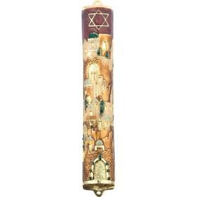 Mezuzah w/Crystals 10 cm Brown