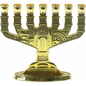 Menorah Jerusalem Antique Gold