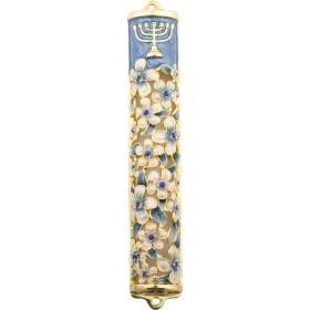 Mezuzah w/Cristaux 8 cm Fleurs Bleu