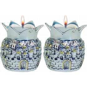 Candle Holders Jerusalem Crown Silver