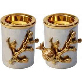 Candle Holders w/Brass Pomegranate