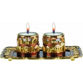 Candle Holder crystals w/tray Brown