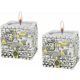 Candle Holders Jerusalem Cube Silver 925 Electroforming
