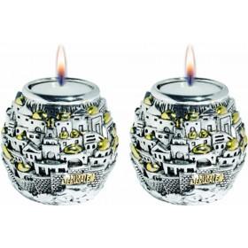 Candle Holders Jerusalem Ball Silver 925 Electroforming