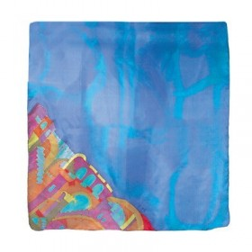 Painted Silk Scarf - Square - Jerusalem Blue