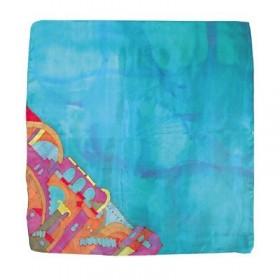 Painted Silk Scarf - Square - Jerusalem Turquoise