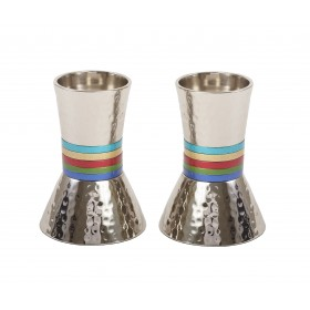 Small Candlesticks - Hammer Work + Rings -  Multicolor