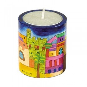 Memorial Candle Holder + Candle - Hand Painted on Wood - Jerusalem