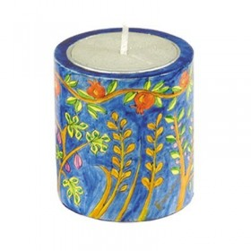 Memorial Candle Holder + Candle - Hand Painted on Wood - Seven Species