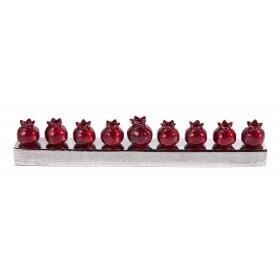 Hanukkah Menorah - Pomegranates - Red