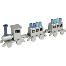 Hanukkah Menorah - Train - Aluminium - Blue Branches