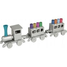 Hanukkah Menorah - Train - Aluminium - Multicolor Branches