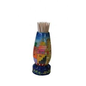 Painted Toothpick Stand - Jerusalem