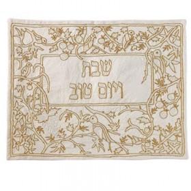 Couverture challah brodée à la main - Oiseaux en or