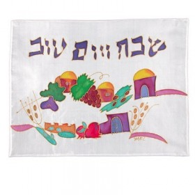 Silk Painted Challah Cover- Houses + Seven Species