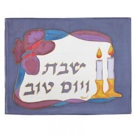 Couverture challah peinte en soie - Chandeliers + Fleurs