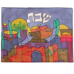 Silk - Painted Challah Cover- Jerusalem - Dove
