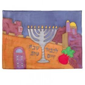 Soie - Couverture de Challah peinte - Menorah + Jérusalem