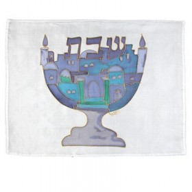 Silk - Painted Challah Cover- Candles and flowers