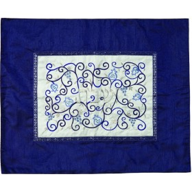 Challah Cover- Center Embroidery  - Blue + White