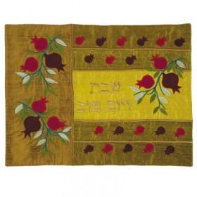 Raw Silk Applique`d Challah Cover- Pomegranates- Copper