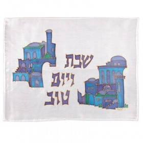 Silk - Painted Challah Cover- Houses- Blue