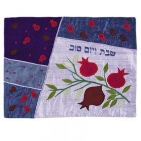 Raw Silk Applique`d Challah Cover- Pomegranates- Blue