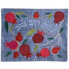 Raw Silk Applique`d Challah Cover- Pomegranate- Blue
