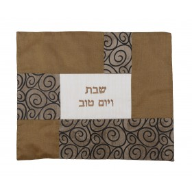 Challah Cover - Fabric Collage- Curls Copper