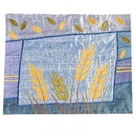 Raw Silk Applique`d Challah Cover- Wheat- Blue