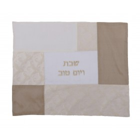 Challah Cover - Fabric Collage- White