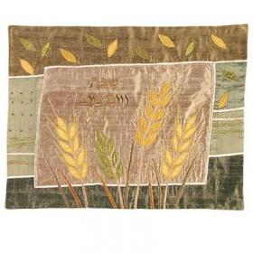 Raw Silk Applique`d Challah Cover- Wheat- Gold