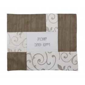 Challah Cover - Fabric Collage- Silver