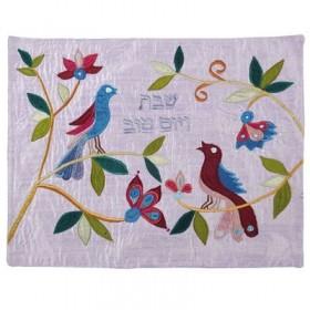 Raw Silk Applique`d Challah Cover- 2 Birds- Blue