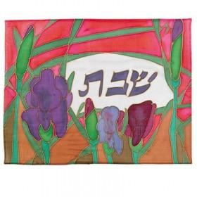 Soie - Couverture de Challah peinte - Iris orange