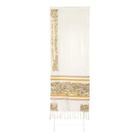 Tallit - Dense Embroidery - Jerusalem - Gold/Silver